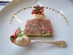 フランス産ホロホロ鳥、シャンパンヴィネガー風味のテリーヌ、生ハムのエスプーマとプチサラダ添え、ソース・ムタルド